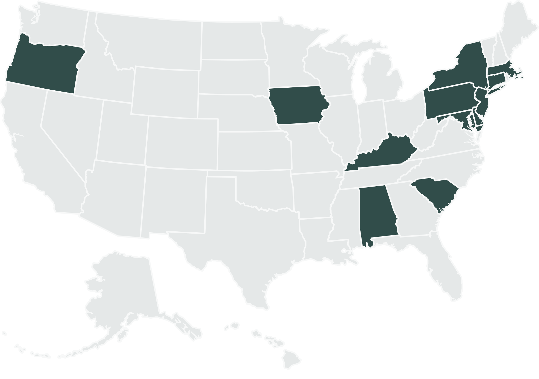 Map of the United States: supported states filled with a dark-grey color, the rest are light-grey